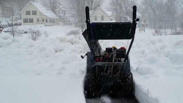 Snowblower at berm