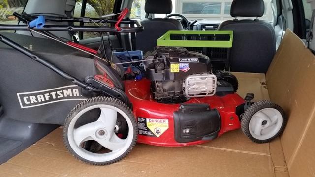 New mower in truck