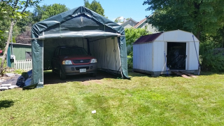 Tent garage with truck complete