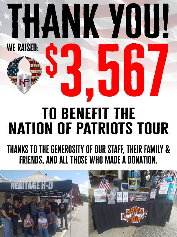TY from Heritage for Nation of Patriots flag tour donations