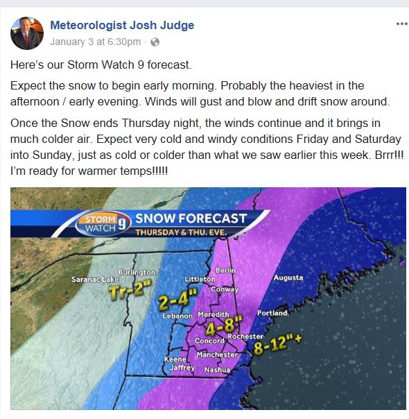 Channel 9 forcast for 1-4-18