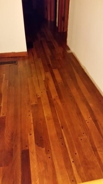 Oiled floor to hall-turned
