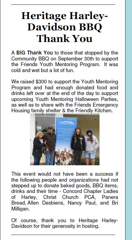 Friends BBQ newsletter article