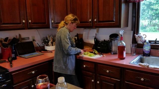 Jessica fixing dinner