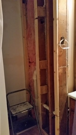 Spacer for bathroom wall to vent