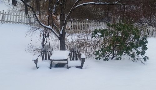 Outdoor chair-table first snow 11-16-18
