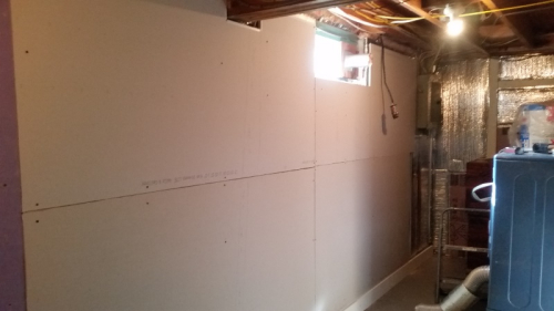 Wall mostly sheetrocked