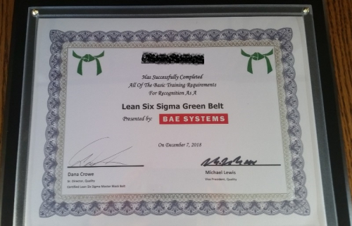Green Belt certificate from BAE-name covered