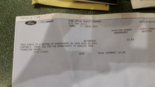 Refund from Ford credit