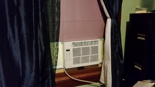 Small air conditioner set up in office