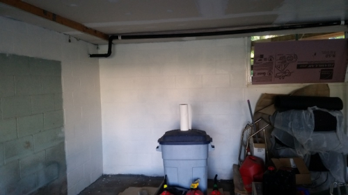 Garage back wall entirely painted