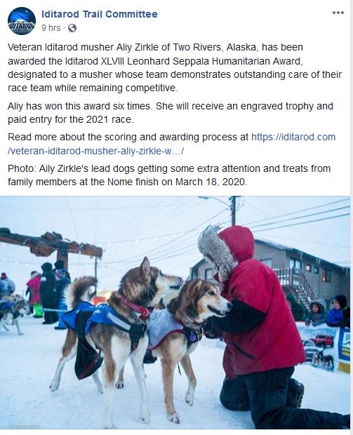 Aliy Zirkle Humanitarian Award