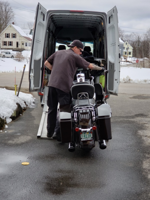 Bike being backed out of van-trnd