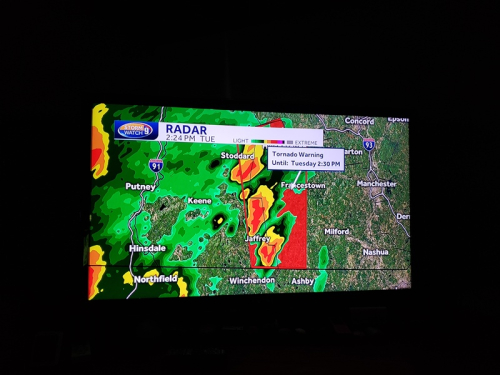 Tornado warning from hurricane