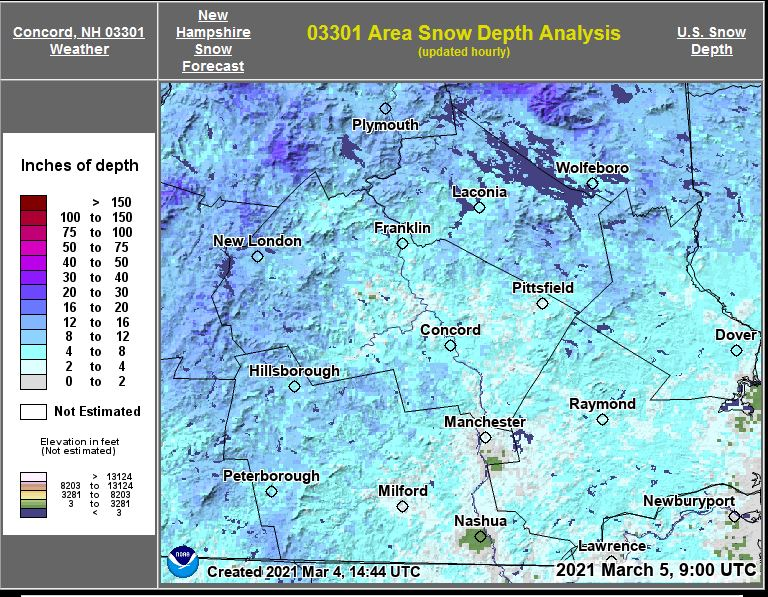 Snow dept map from weatherstreet