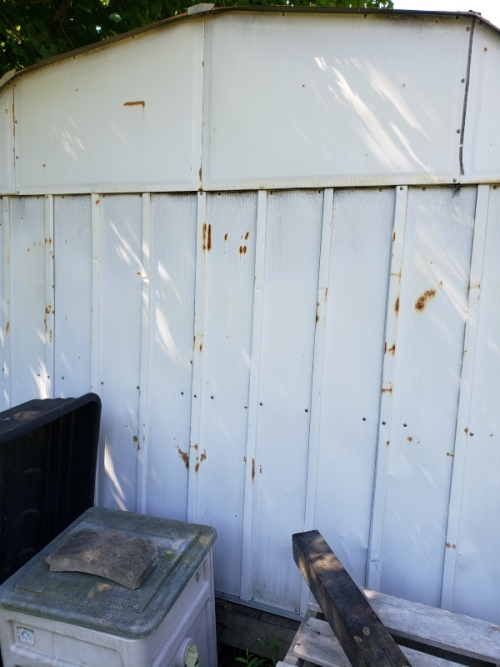 Front of metal shed