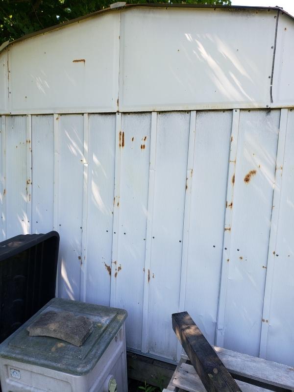 Back of metal shed