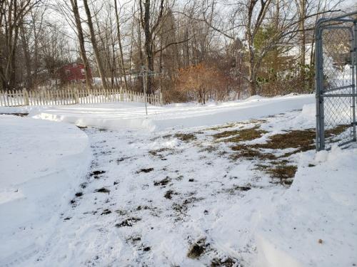 Fence corner where paths meet widened