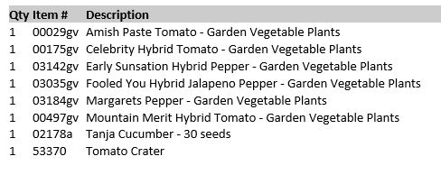 Vegetable Order from totally Tomatoes